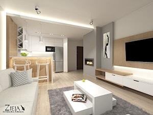 Mieszkanie Singielki - Średni szary biały salon z kuchnią z jadalnią, styl nowoczesny - zdjęcie od Zieja Interiors Design