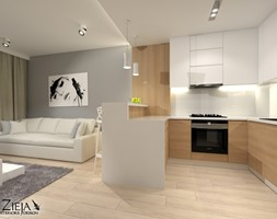 Mieszkanie Singielki - Mała otwarta szara kuchnia w kształcie litery u w aneksie, styl nowoczesny - zdjęcie od Zieja Interiors Design - Homebook