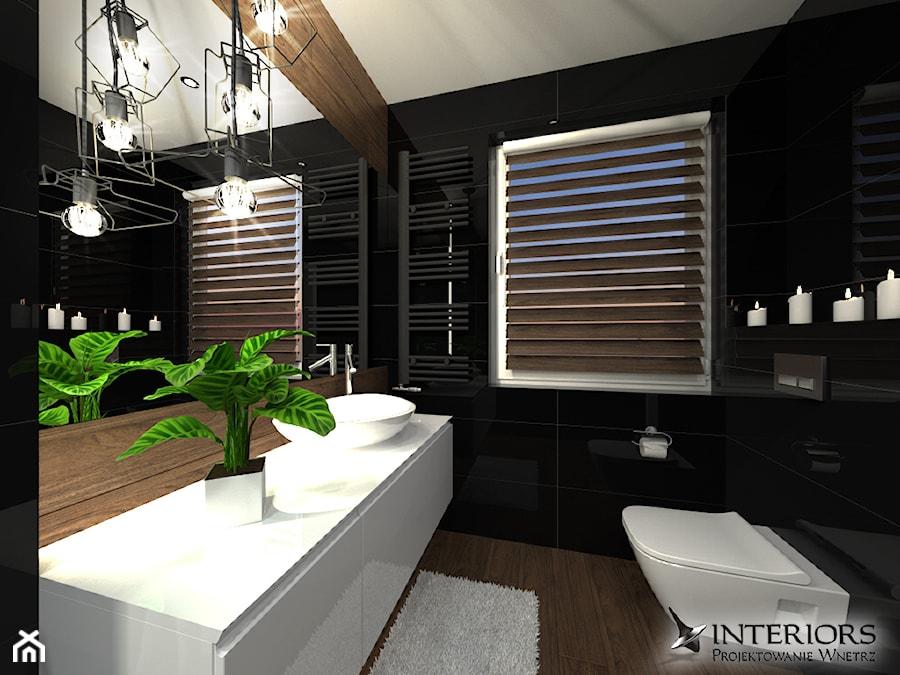 Łazienka Venis Crystal Dark + Hasel Ochra - Mała czarna łazienka na poddaszu w bloku w domu jednorodzinnym z oknem, styl nowoczesny - zdjęcie od Zieja Interiors Design