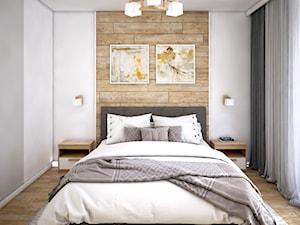 Przytulna sypialnia z panelami drewnianymi - zdjęcie od Totius Studio