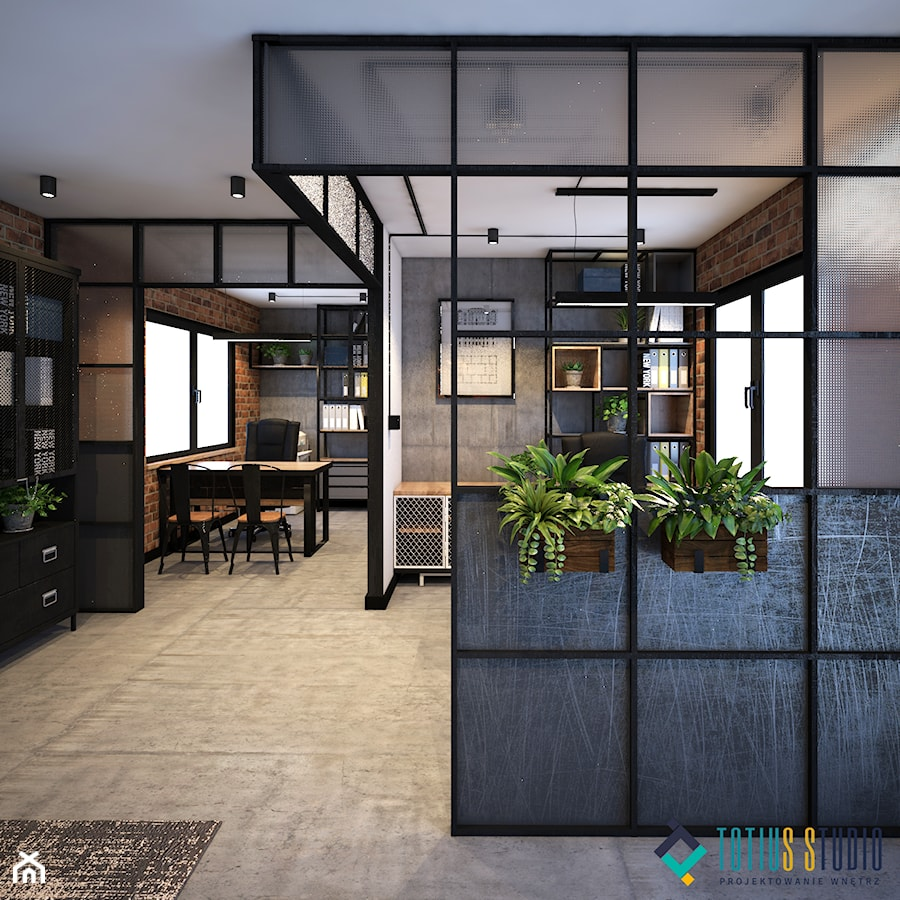 biuro w stylu industrialnym - Średnie szare białe biuro pracownia w pokoju, styl industrialny - zdjęcie od Totius Studio