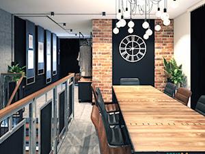 biuro w stylu industrialnym - Średnie czarne białe biuro pracownia, styl industrialny - zdjęcie od Totius Studio