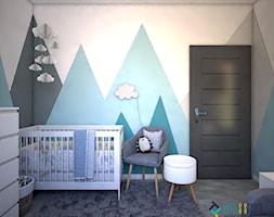 Pokój dla noworodka - Mały biały szary niebieski pokój dziecka dla chłopca dla dziewczynki dla niemowlaka dla malucha, styl nowoczesny - zdjęcie od Totius Studio