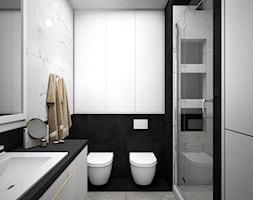 Łazienka w szarościach - Średnia biała szara łazienka w bloku w domu jednorodzinnym bez okna, styl nowoczesny - zdjęcie od Totius Studio