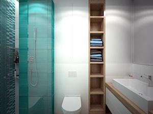 łazienka z turkusowymi płytkami, wersja 1 - zdjęcie od Totius Studio