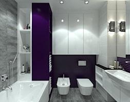 Łazienka z fioletowym akcentem - Średnia biała fioletowa łazienka na poddaszu w bloku w domu jednorodzinnym bez okna, styl nowoczesny - zdjęcie od Totius Studio
