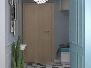 Kolory w mieszkaniu - Mały niebieski szary hol / przedpokój, styl nowoczesny - zdjęcie od Totius Studio