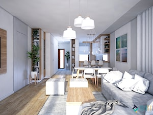 Skandynawski dom z nutą minimalizmu - Średni szary salon z kuchnią z jadalnią, styl skandynawski - zdjęcie od Totius Studio