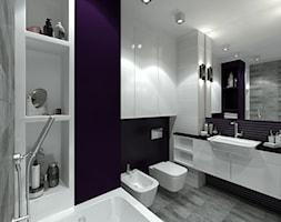 Łazienka z fioletowym akcentem - Średnia czarna fioletowa łazienka jako salon kąpielowy bez okna, styl nowoczesny - zdjęcie od Totius Studio