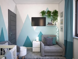 Pokój dla noworodka - Mały biały zielony pokój dziecka dla chłopca dla dziewczynki dla niemowlaka, styl nowoczesny - zdjęcie od Totius Studio