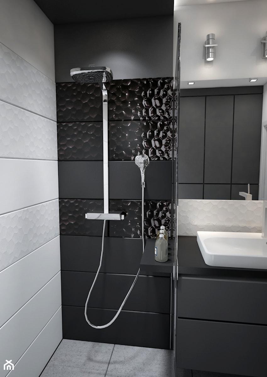 Aranżacje wnętrz - Łazienka: Mieszkanie w czerni, bieli i drewnie - Mała biała czarna łazienka na poddaszu w bloku w domu jednorodzinnym bez okna, styl nowoczesny - Totius Studio. Przeglądaj, dodawaj i zapisuj najlepsze zdjęcia, pomysły i inspiracje designerskie. W bazie mamy już prawie milion fotografii!