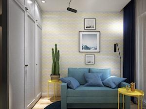 Kolory w mieszkaniu - Średnie szare żółte biuro domowe kącik do pracy w pokoju, styl nowoczesny - zdjęcie od Totius Studio