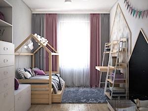 Skandynawski dom z nutą minimalizmu - Średni biały szary pokój dziecka dla chłopca dla dziewczynki dla ucznia dla malucha, styl skandynawski - zdjęcie od Totius Studio