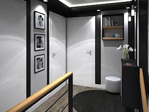 Dom w Holandii - dominująca czerń - Mały czarny szary hol / przedpokój, styl nowoczesny - zdjęcie od Totius Studio