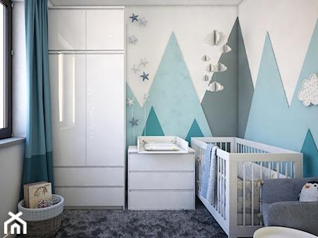 Pokój dla noworodka - Biały turkusowy pokój dziecka dla chłopca dla dziewczynki dla niemowlaka dla malucha, styl nowoczesny - zdjęcie od Totius Studio