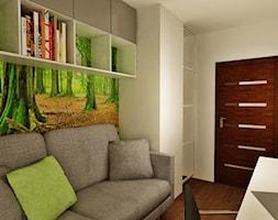 Projekty - Małe beżowe biuro domowe kącik do pracy w pokoju - zdjęcie od Ogrody i Wnętrza