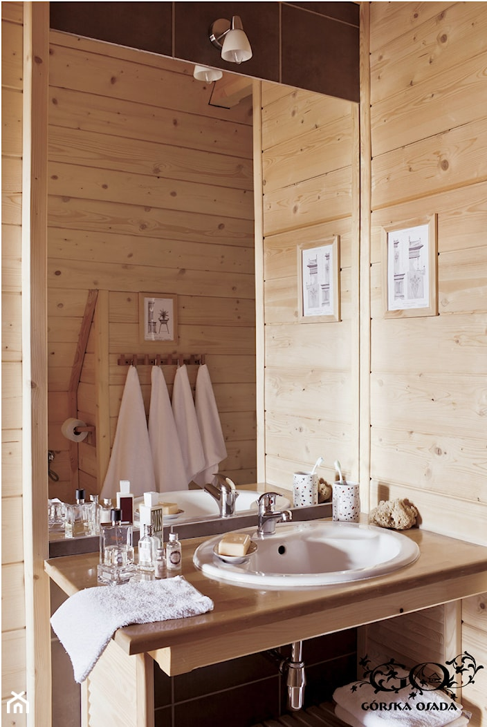 Chalet Nr 1 - Mniszkowy Zapiecek - Łazienka w bloku w domu jednorodzinnym bez okna, styl rustykalny - zdjęcie od Górska Osada - Luxury Chalets in Tatra Mountains - Homebook