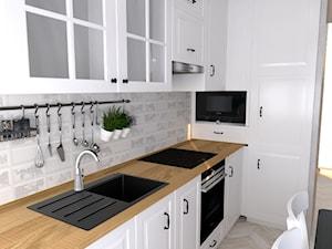 Rustykalna kuchnia w Warszawie - Mała biała kuchnia w kształcie litery l w aneksie, styl rustykalny - zdjęcie od Studio WYMIAR
