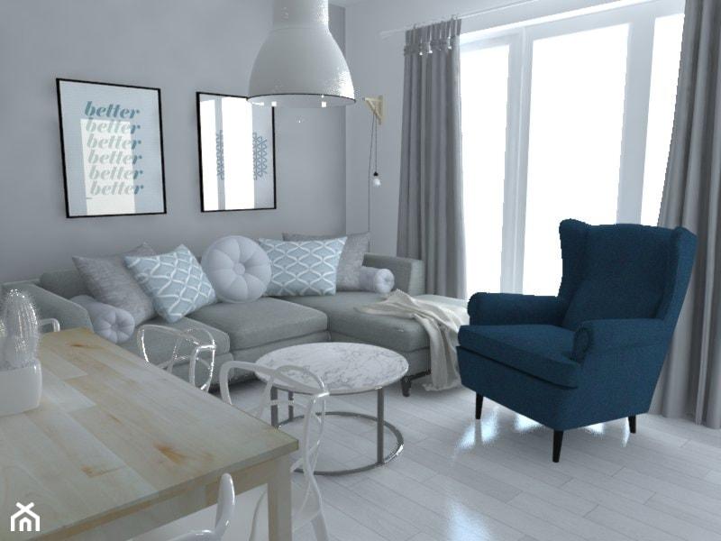 Mieszkanie Warszawa - Mały biały salon z jadalnią, styl skandynawski - zdjęcie od Studio WYMIAR - Homebook