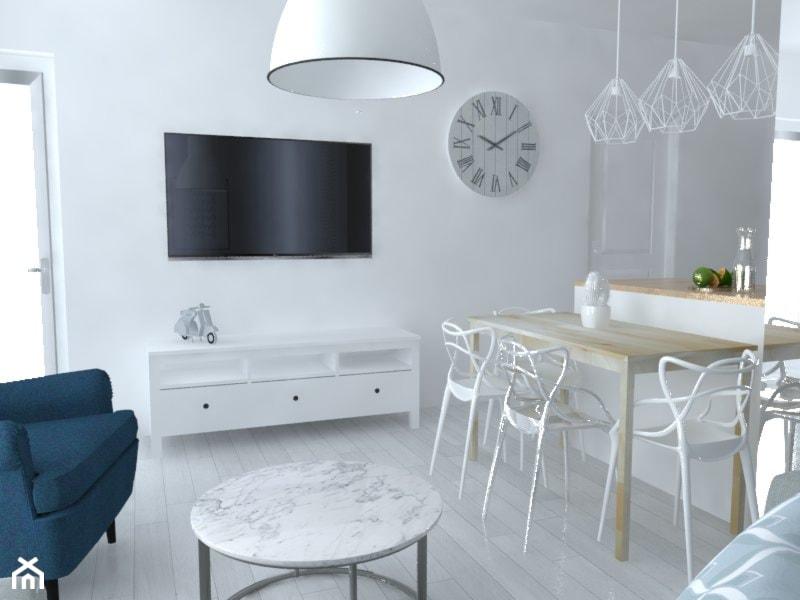 Mieszkanie Warszawa - Średnia otwarta biała jadalnia w kuchni w salonie, styl skandynawski - zdjęcie od Studio WYMIAR - Homebook