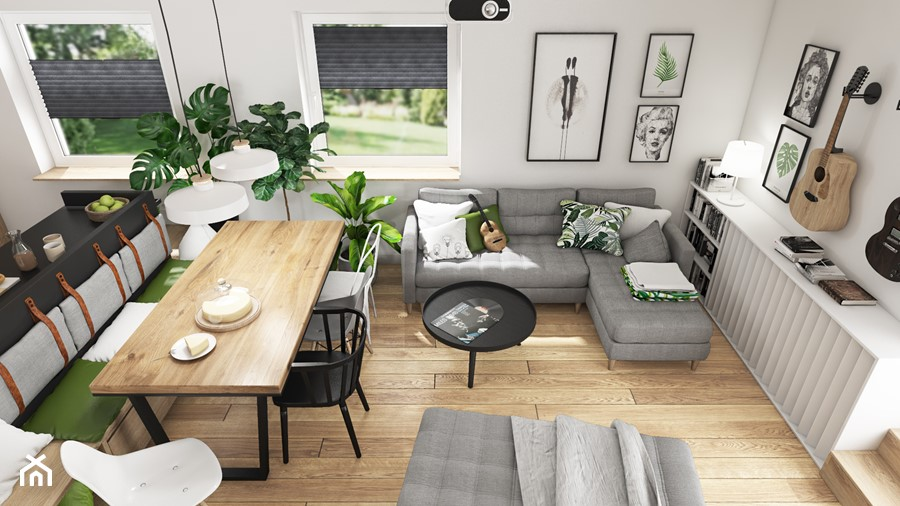 Aranżacje wnętrz - Salon: SALON Z KUCHNIĄ 32m2 - Mały biały salon z bibiloteczką z kuchnią z jadalnią - SYMETRIA | pracownia architektury. Przeglądaj, dodawaj i zapisuj najlepsze zdjęcia, pomysły i inspiracje designerskie. W bazie mamy już prawie milion fotografii!