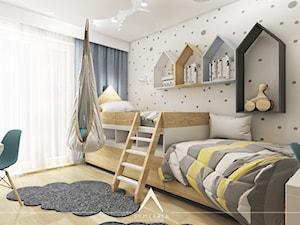 POKÓJ DZIECI   MIESZKANIE 78m2 - Średni szary pokój dziecka dla chłopca dla dziewczynki dla rodzeństwa dla ucznia dla malucha dla nastolatka - zdjęcie od SYMETRIA   pracownia architektury