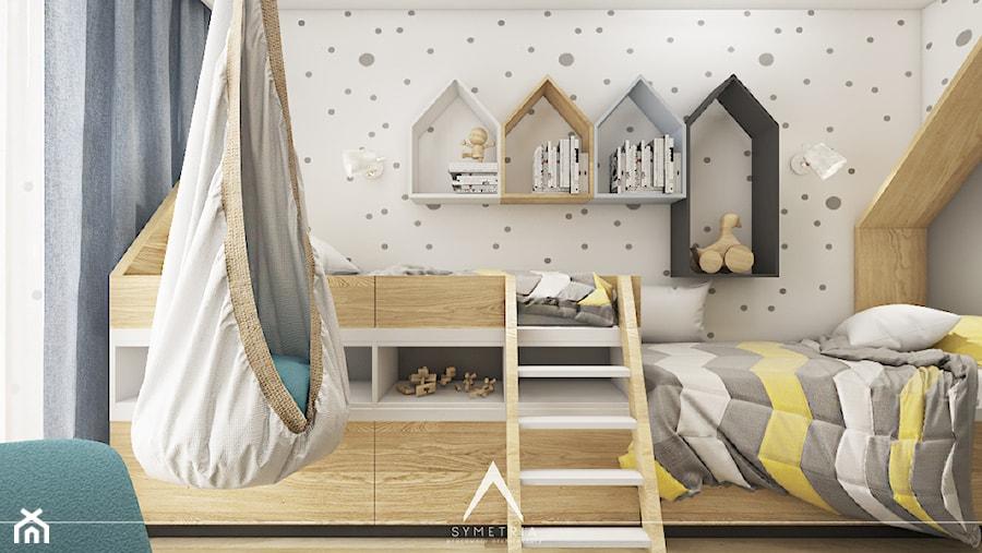 POKÓJ DZIECI | MIESZKANIE 78m2 - Mały szary pokój dziecka dla chłopca dla dziewczynki dla rodzeństwa dla malucha dla nastolatka - zdjęcie od SYMETRIA | pracownia architektury