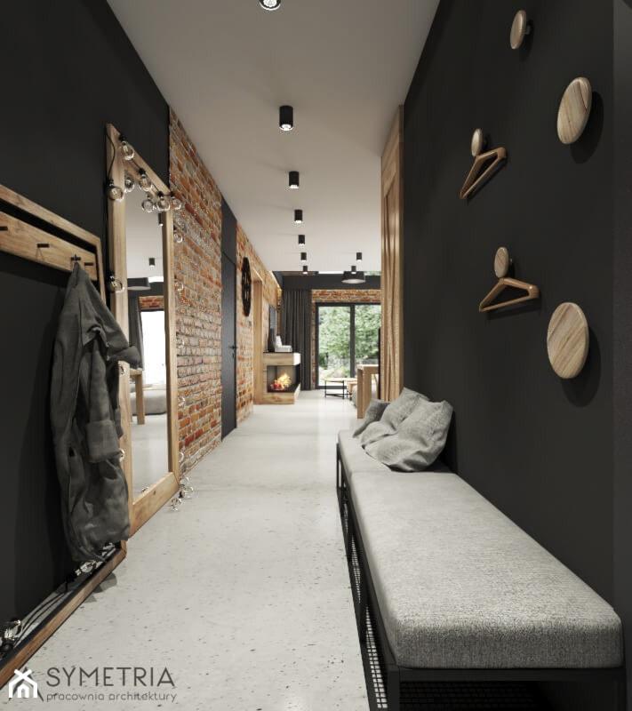 PROJEKT INDUSTRIALNO-RUSTYKALNY 55m2 - Duży czarny hol / przedpokój, styl industrialny - zdjęcie od SYMETRIA | pracownia architektury - Homebook