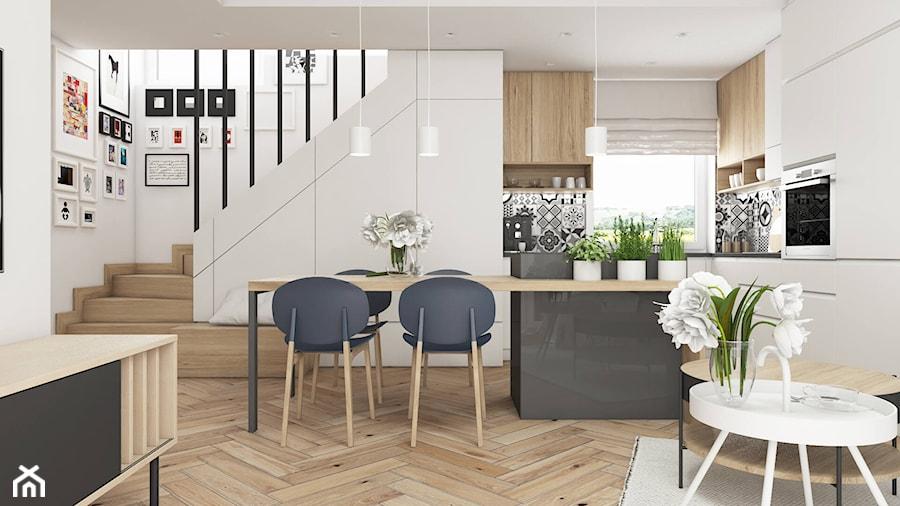 Aranżacje wnętrz - Jadalnia: MIESZKANIE W MOGILNIE | 32m2 - Średnia otwarta biała jadalnia w kuchni w salonie - SYMETRIA | pracownia architektury. Przeglądaj, dodawaj i zapisuj najlepsze zdjęcia, pomysły i inspiracje designerskie. W bazie mamy już prawie milion fotografii!