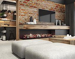 PROJEKT INDUSTRIALNO-RUSTYKALNY 55m2 - Średni brązowy salon, styl industrialny - zdjęcie od SYMETRIA | pracownia architektury
