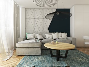 MIESZKANIE 48m2 // BUK - Mały szary salon, styl eklektyczny - zdjęcie od SYMETRIA | pracownia architektury