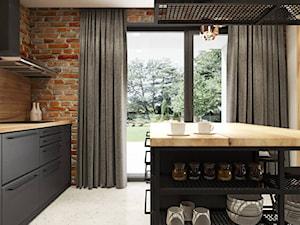 PROJEKT INDUSTRIALNO-RUSTYKALNY 55m2 - Średnia zamknięta szara kuchnia jednorzędowa z wyspą z oknem, styl industrialny - zdjęcie od SYMETRIA | pracownia architektury