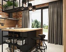 PROJEKT INDUSTRIALNO-RUSTYKALNY 55m2 - Średnia zamknięta kuchnia dwurzędowa z wyspą z oknem, styl industrialny - zdjęcie od SYMETRIA | pracownia architektury