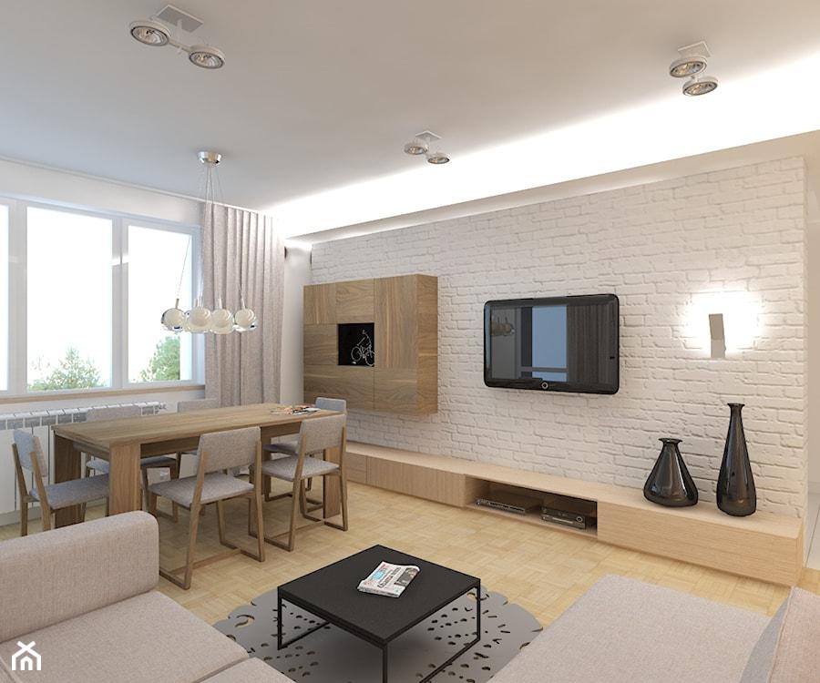 Jasno i przestrzennie redni salon z jadalni styl for Oswietlenie w salonie