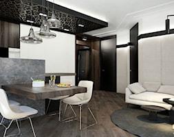 APARTAMENT / CZĘSTOCHOWA 55M2 - Duża otwarta szara jadalnia w salonie, styl nowoczesny - zdjęcie od wisniewskikuba - Homebook