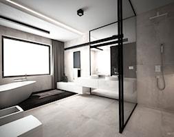 DOM JEDNORODZINNY / CZĘSTOCHOWA 283M2 - Duża szara łazienka w domu jednorodzinnym z oknem, styl nowoczesny - zdjęcie od wisniewskikuba - Homebook
