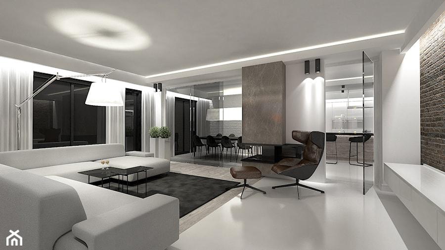 PROJEKT DOMU JEDNORODZINNEGO / PORAJ - Duży biały salon, styl nowoczesny - zdjęcie od wisniewskikuba