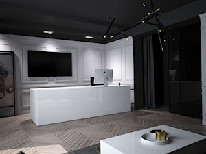 BIURO RAGNARCARS / CZĘSTOCHOWA - Duże czarne białe biuro domowe kącik do pracy w pokoju, styl glamour - zdjęcie od wisniewskikuba