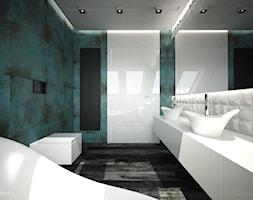 ŁAZIENKA TRZY KOLORY / CYKARZEW PÓŁNOCNY - Średnia biała łazienka w domu jednorodzinnym z oknem, styl nowoczesny - zdjęcie od wisniewskikuba