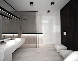 DOM JEDNORODZINNY / CZĘSTOCHOWA 283M2 - Duża czarna szara łazienka, styl nowoczesny - zdjęcie od wisniewskikuba - Homebook