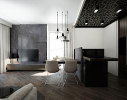 APARTAMENT / CZĘSTOCHOWA 55M2 - Duży szary biały salon z kuchnią z jadalnią, styl nowoczesny - zdjęcie od wisniewskikuba - Homebook