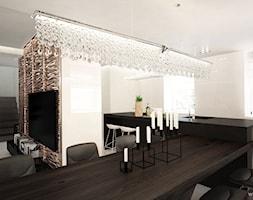 DOM POD CZĘSTOCHOWĄ / 200M2 - Duża otwarta szara jadalnia w kuchni w salonie, styl nowoczesny - zdjęcie od wisniewskikuba - Homebook