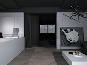 BIURO RAGNARCARS / CZĘSTOCHOWA - Duże białe biuro domowe kącik do pracy w pokoju, styl skandynawski - zdjęcie od wisniewskikuba