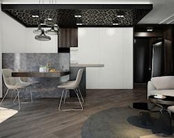 APARTAMENT / CZĘSTOCHOWA 55M2 - Duża otwarta czarna szara jadalnia w salonie, styl nowoczesny - zdjęcie od wisniewskikuba - Homebook