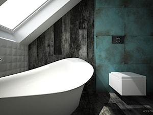ŁAZIENKA TRZY KOLORY / CYKARZEW PÓŁNOCNY - Średnia łazienka na poddaszu w domu jednorodzinnym, styl nowoczesny - zdjęcie od wisniewskikuba