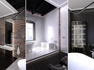 ŁAZIENKA / LEGNICA - Duża czarna łazienka na poddaszu w bloku w domu jednorodzinnym z oknem, styl industrialny - zdjęcie od wisniewskikuba