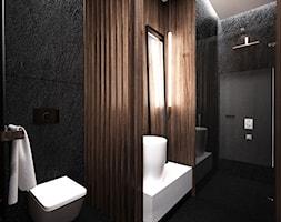 DOM JEDNORODZINNY / CZĘSTOCHOWA 283M2 - Mała czarna łazienka na poddaszu w bloku w domu jednorodzinnym bez okna, styl nowoczesny - zdjęcie od wisniewskikuba - Homebook