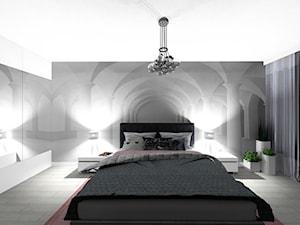 mieszkanie 64 m2 - Średnia biała szara sypialnia małżeńska - zdjęcie od BushkoProjekt