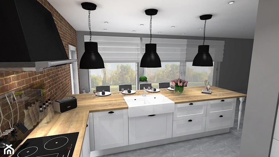 KUCHNIA + KREDENS - Duża otwarta kuchnia w kształcie litery l w aneksie z wyspą, styl rustykalny - zdjęcie od aleksandrak8