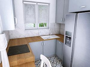 Dom w Różynach 2018 - Mała zamknięta wąska biała kuchnia w kształcie litery u z oknem, styl eklektyczny - zdjęcie od WOJSZ studio